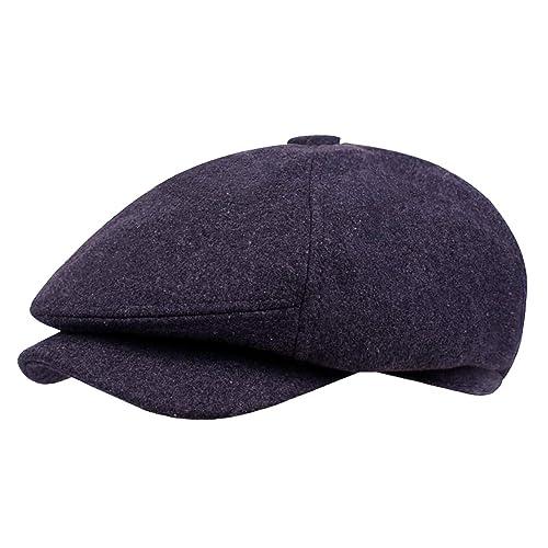 YaWindYa Mens 6 Panel Herringbone Tweed Newsboy Flat Cap Gatsby Peaky  Blinders Baker Boy Hat 57CM 455215e02e7