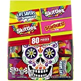 Contains one (1) 32.82oz, 80-piece fun size piece bag of SKITTLES, STARBURST, and LIFE SAVERS Chewy Candy Contains a Halloween candy assortment mix of SKITTLES, STARBURST & LIFE SAVERS chewy candy SKITTLES, STARBURST & LIFE SAVERS fun size candy piec...