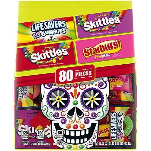 SKITTLES Wild Berry, SKITTLES Original, STARBUST FaveREDS, and LIFE SAVERS Gummy Dia de Los Muertos Halloween Candy
