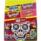 SKITTLES Wild Berry, SKITTLES Original, STARBUST FaveREDS, and LIFE SAVERS Gummy Dia de Los Muertos Halloween Candy (32.82oz/80 pieces)