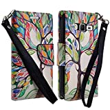 GW Compatible for Samsung Galaxy Grand Prime LTE G530 Case, Samsung Galaxy Go Prime Case, Magnetic Wallet Pouch with Built in Kickstand for Galaxy Grand Prime LTE/Galaxy Go Prime, Colorful Tree