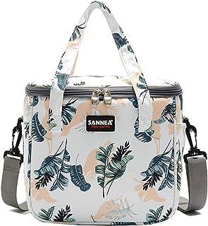 IvyH Bolsa de Almuerzo Termica 7L Bolsa Porta Alimentos con Correa Bolsa de Picnic Muchachas Mujer para Escuela, Trabajo, Excursionismo, Playa(Hojas)