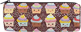ALAZA Cupcake Dessert Cylinder Pencil Case Holder Zipper Large Capacity Pen Bag Pouch Students Stationery Cosmetic Makeup Bag