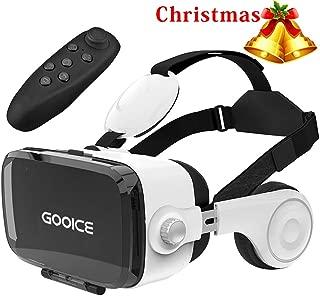 「2020改進版」Gooice 3D VRゴーグル Bluetoothリモコン付属 VRヘッドセット イヤホン 3D動画 ゲーム 映画 映像 効果 4.7~6.2インチ iPhone android などのスマホ対応