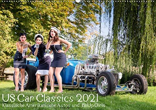 US Car Classics 2021 - Klassische amerikanische Autos und PinUp Girls (Wandkalender 2021 DIN A2 quer)