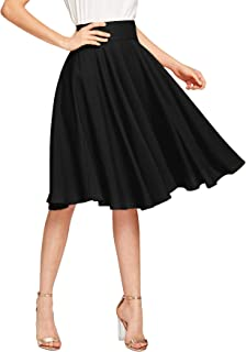 DIDK Women's A-Line Elegant Pleated Skirt, High Waist, Knee-Length, Rockabilly, Vintage, Retro, Swing