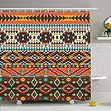 Hotyle Conjunto de Cortina de Ducha con Ganchos 120X180Cm Negro Colorido Perú Azteca Elemento Patrón Moda Borde Abstracto Texturas Antiguas Rayas frías Sin Costura