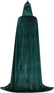 Unisex Hooded Cloak Full Long Velvet Cape for Halloween Cosplay Costumes
