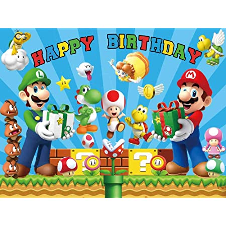 Betta Super Mario Backdrop for Birthday Party Mario Bros Backdrop for Party Decor Supplies Superman Mario Adventure Theme Background Cartoon Theme Kids Birthday Party Cake Table Decor Banner 7x5ft