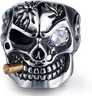 Vintage Stainless Steel Gothic Skull Smoking Bullet Biker Cocktail Party Ring for Men