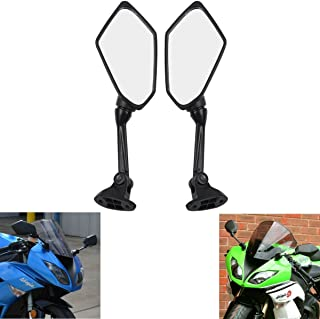 MZS Motorcycle Mirrors Rear View compatible Kawasaki Ninja ZX6R ZX-6R ZX600P ZX600R 2009 2010 2011 2012 (Black)