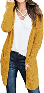 Womens Open Front Knit Shaggyted Cardigan Sweaters Long Sleeve Outwear with Pockets