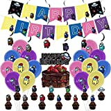 Among Us Party Decorations Supplies Among Us Theme Party Includes Happy Birthday Banner, Balloons,Cake Topper,Cupcake Topper