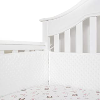 TILLYOU Baby Safe Minky Dot Crib Bumper Pads for Standard Cribs Machine Washable Padded Crib Liner Thick Padding for Nursery Bed 100% Silky Soft Microfiber Polyester Protector de Cuna, 4 Piece/Cream