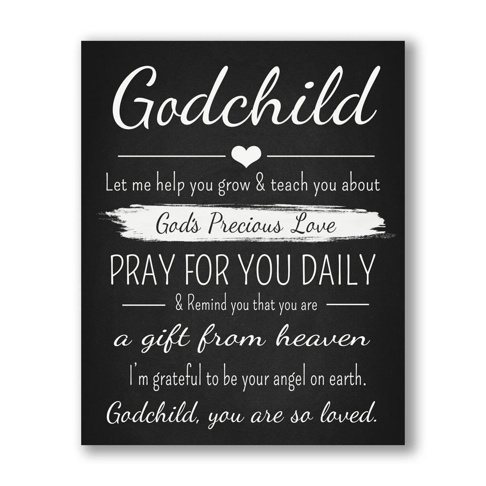 Godchild Gift Quote Chalkboard Inspired Print - Godparent for New Baby Boy/Girl - Baptism Keepsake for Godson/Goddaughter