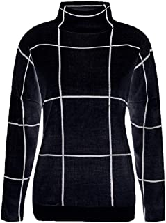 Women's Fashion White Grid Casual Turtle Neck Long Sleeved Knit Pullover Sweater