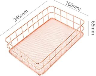 Elaco Rose Gold Metal Storage Basket Mesh Crate Vintage Kitchen Office Storage Desk Organiser Vintage Style Would Work in Any Kitchen Store Food Packets and Spices