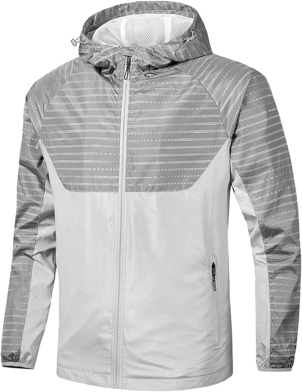 Huangse Plus Size Men's Windproof Jacket Lightweight Waterproof Hooded Rain Jacket Outdoor Raincoat Shell Jacket for Hiking