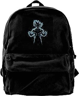 MIJUGGH Canvas Backpack Dragon Ball Z Goku Ultra Instinct Fire Rucksack Gym Hiking Laptop Shoulder Bag Daypack for Men Women