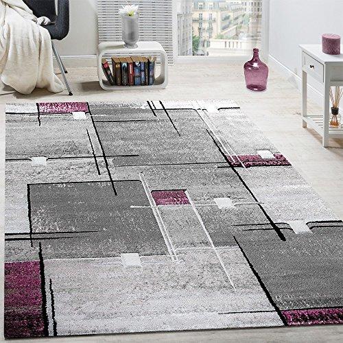 Paco Home Alfombra De Diseño Contorneada Abstracta De Cuadros Y Líneas Jaspeada En Gris Y Lila, tamaño:80x150 cm