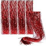 com-four® 5X Lametta für Weihnachten - Lametta Girlande in rot - Weihnachtsschmuck für den Christbaum - 50 cm (rot - 5 Stück)