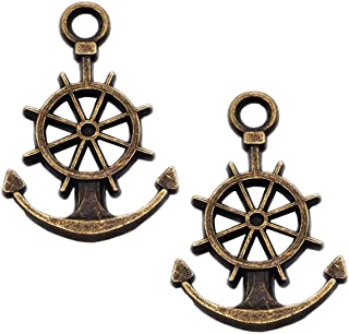 40pcs Vintage Antique Bronze Alloy Boat Ship Anchor Charms Pendant Jewelry Findings for Jewelry Making Necklace Bracelet DIY 21x14mm (40pcs Bronze)