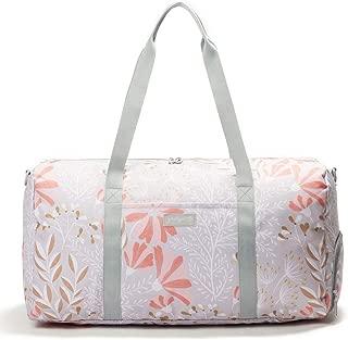 "Jadyn B 22"" Women's Weekender Duffel Bag with Shoe Pocket (Gray Floral)"