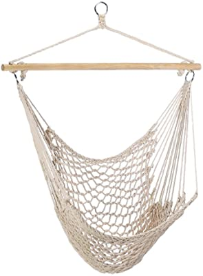 Gifts Decor Cotton Rope Hammock Cradle Chair With Wood Stretcher Garden Outdoor