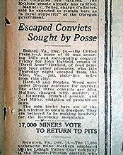 JOHN HATFIELDS-McCoys Hillbilly Feud Fame JAIL Escape Wise County 1923 Newspaper
