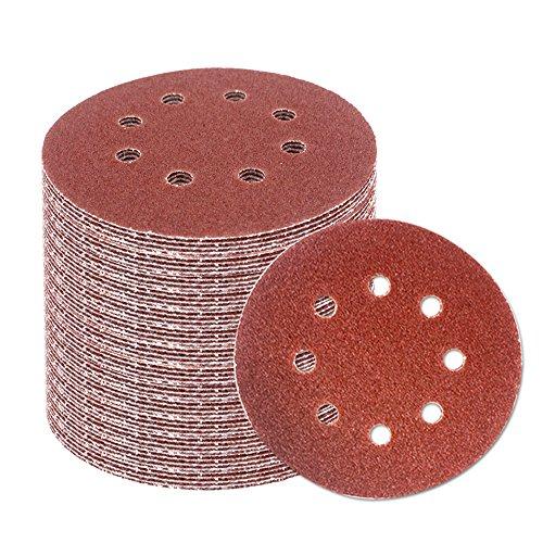 Coceca 80pcs Orbit Sander Sandpaper 5 inches Orbital Sanding Discs Assorted 40 60 80 100 150 180 240 320 Grits for Power Random Orbit Sanders