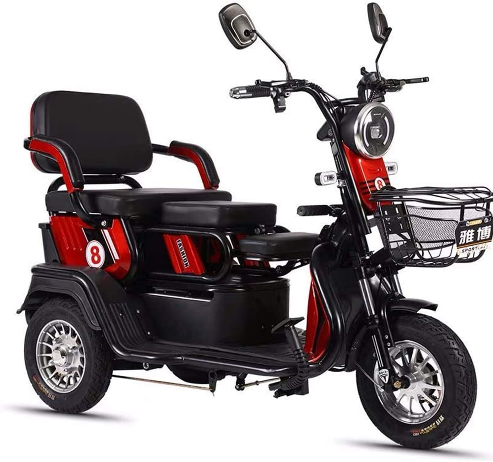 XCJJ Scooter eléctrico con canasta, Scooter eléctrico de 3 ruedas para adultos, Scooter eléctrico Drive Medical, baterías de litio de 48 V 20 Ah,rojo