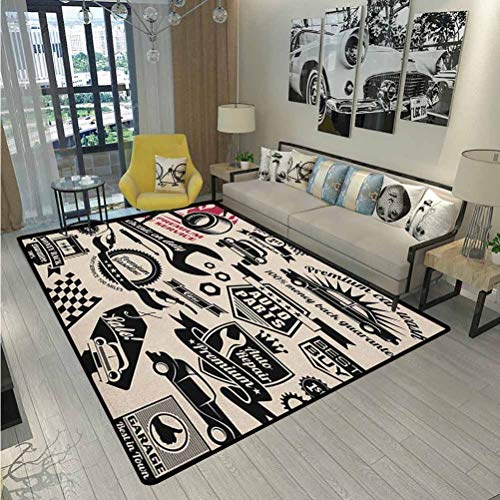 Retro Camping Rugs for Outside Your Classroom Rugs Car Repair Shop Logos Monochrome Car Silhouettes Best Garage in Town Computer Chair mat for Carpet Beige Dark Coral Black 5 x 6 Ft