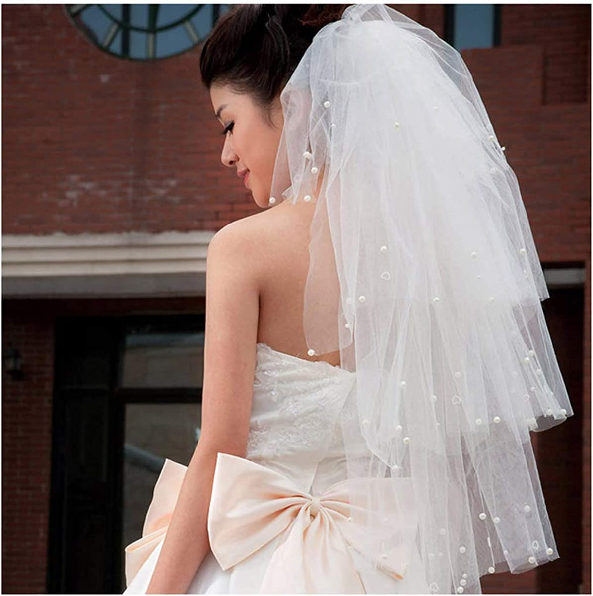 CanB Wedding Veil Bride Elbow Length Pearl veil with Comb Crystal Soft Tulle Bridal Hair Accessories for Women and Girls