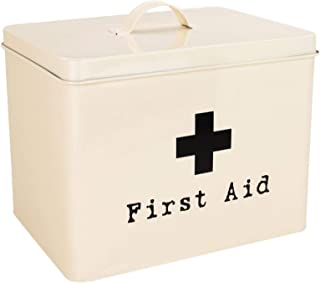 Harbour Housewares First Aid Medicine Storage Box in Vintage Metal - Cream