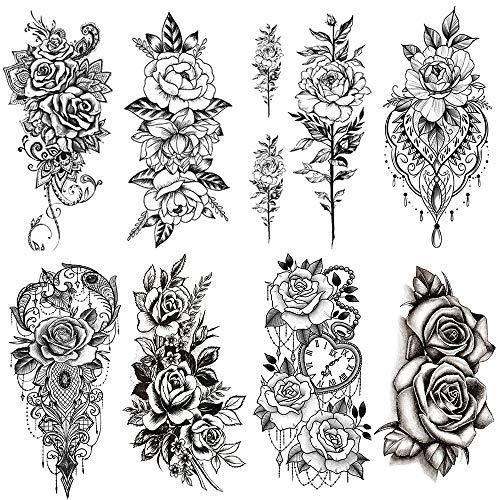 Yesallwas タトゥーシール?薔薇?黒 バラ 花 8枚セット 入れ墨シール リアル 防水 長持ち 刺青シール ボディーシール メンズ レディース black rose flower temporary tattoos 11.5x21CM