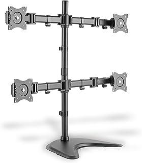 DIGITUS Uchwyt do monitora – podstawa – 4 monitory – do 27 cali – do 4 x 8 kg – VESA 75 x 75, 100 x 100 – czarny