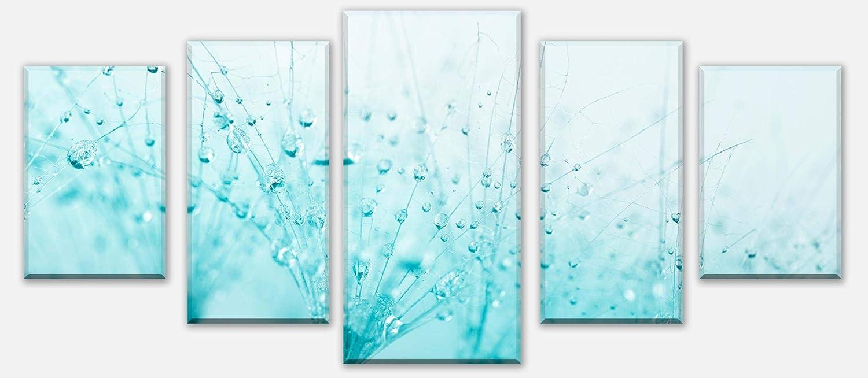 Wandmotiv24 Leinwandbild PusteBlaume Türkis Variante 1-210 x 100cm mehrteilig, Foto-Leinwand, Wandbild M0347