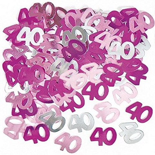 SHATCHI 2 Packs x Pink 40 40th Birthday Confetti Party Decorations Table...