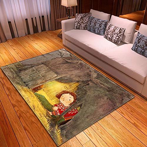 HJKGSX Alfombra De Salón Chica bajo el arbol Alfombra Pelo Corto Antideslizante Dormitorio Cuarto de los niños Fácil de Manejar 140 x 200 cm
