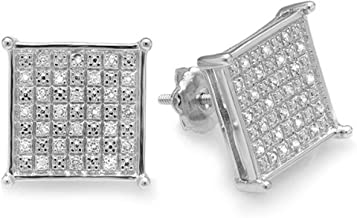 Dazzlingrock Collection 0.33 Carat (ctw) Diamond Square Shape Mens Ladies Hip Hop 12 mm Stud Earrings 1/3 CT, Sterling Silver
