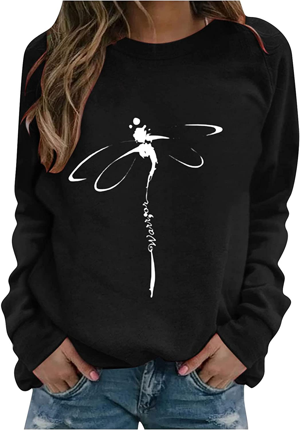 MASZONE Pullover Sweaters for Women Graphic Dragonfly Print O-Neck Long Sleeve Pullover Hoodies Casual Solid Color Top