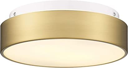 Autelo 2-Light Close to Ceiling Light Fixture, 11 inch Frosted Glass Shade Flush Mount Ceiling Light Fixture in Antique Br...