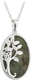 Connemara Marble Tree of Life Pendant Sterling Silver Irish Made