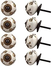 Indian-Shelf Handmade Ceramic Flower Cabinet Knobs Door Pulls Furniture Handles(Golden, 1.75 Inches)-Pack of 8