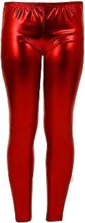 Women Metallic Leggings Foil Wet Look Shiny Ladies Pant Disco Party Club Legging#(Red Metallic Shiny Legging#UK 12#Womens)