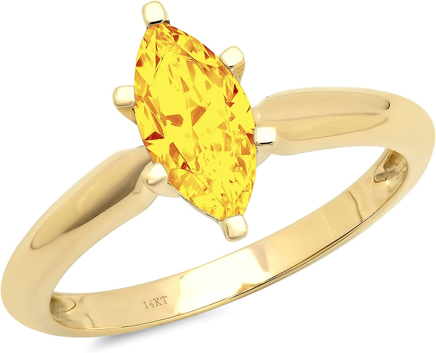 shop 1.50 ct Brilliant Marquise Gifts Cut Yellow Citrine Natural Solitaire