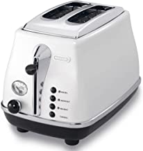 Delonghi CTO2003.W Icona Vintage Toaster 220-240 Volts 50Hz Export Only, 2-Slice, White