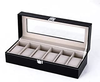 Faux Leather Watch Box Organizer for 6 Watches Reserve Watch Protect Box case with Glass Lid Black