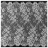 Chantilly ALE08 - Cortinas de encaje floral para vestido de novia o novia (300 x 72 cm), color negro y blanco