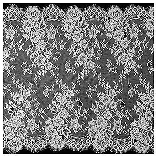 ALE08 Chantilly Spitzenvorhänge für Braut/Hochzeitskleid, Blumenmuster, gemustert, bestickt, 300 x 72 cm, Schwarz / Weiß gebrochenes weiß